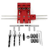 Dowelling Jig for Furniture Fast Connecting Cam Fitting 3 In 1 Woodworking Drill Guide Kit Locator Aluminium Alloy