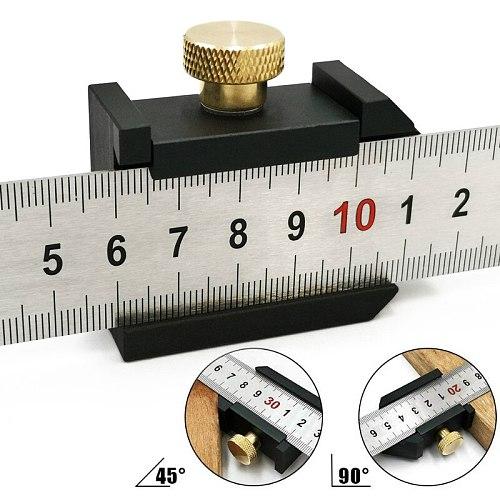Steel Ruler Positioning Block Stop Block Woodworking Line Locator DIY Measuring Tool Fixed Steel Ruler w/ 300mm Carpentry Tools