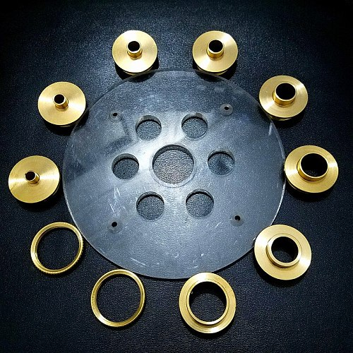 10PCS Brass Router Plate Guide Bushings + Round Base bottom Plate For Woodworking Trimming Machine Router Table Insert Plate