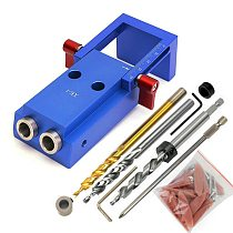 Deluxe Pocket Hole Jig Kit System + 9.5mm HSS Step Drill Bit & Accessories Wood Work Tool Set Locator Tool