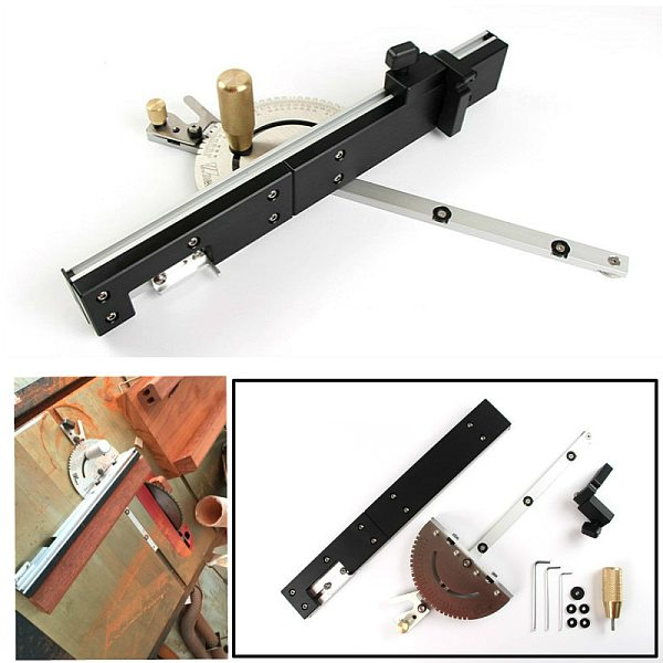 Woodworking Precision Miter Gauge And Box Joint Jig Kit with Adjustable Flip Stop Table Saw Router DIY Tool