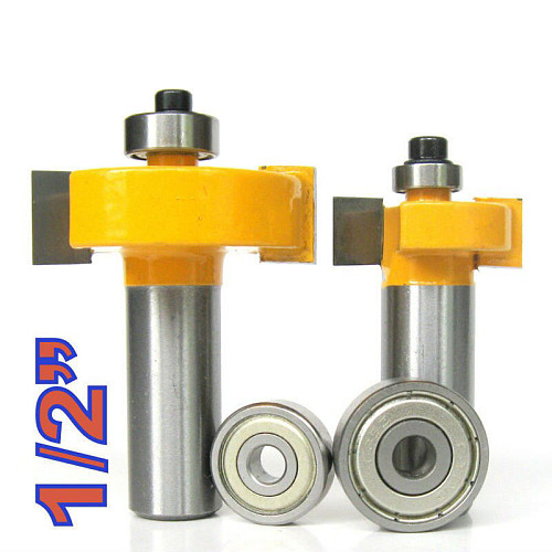 2 pc 1/2 SH 1/2, 3/8 Rabbeting & Slotting Router Bit w/2pc Bearings Set  wood cutter  woodworking bits wood milling cutter