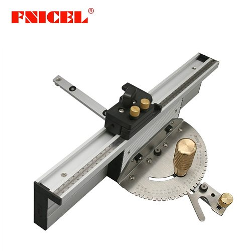 Woodworking Enhanced Fence Miter Gauge Set Table Saw Router Angle Miter Gauge Guide 450mm Alu Mortise Tenon and Flip Stopper