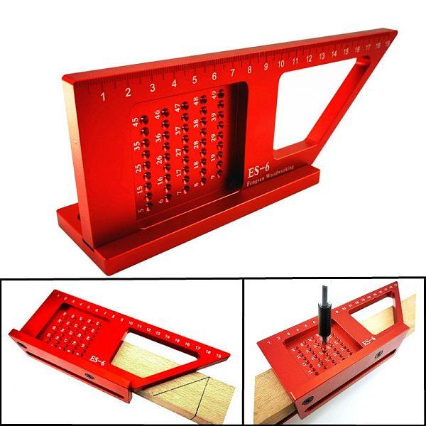 Aluminum Alloy Woodworking Scribe Mark Line Gauge Ruler Square Layout Miter 45 + 90 Degree Metric Gauge Measuring Gauging Tools