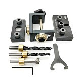 NEW Wood Doweling Jig Pocket Hole Drilling Locator Jig Kit with 6/8/10mm Drill Bit Vertical Drill Guide Hole Puncher Tools