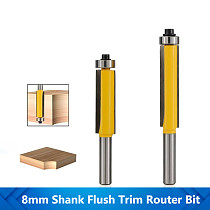 1pc 8mm Shank Flush Trimming Router Bit With Bearing Guide Template Trim Milling Cutter Straight Pattern Router Bit