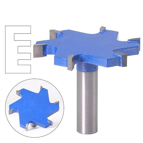 1pc 1/2  Shank 12mm shank 6 Edge T Type Slotting Cutter Woodworking Tool Router Bits For Wood Industrial Grade Milling Cutter