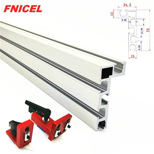 600mm/800mm Aluminium Profile Fence 75mm Height with T-Tracks and Sliding Brackets Miter Gauge Backer Connector for Woodworking
