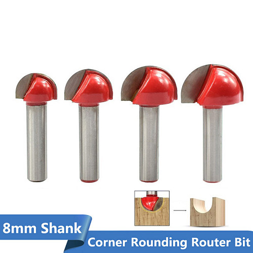 1pc 8mm Shank Corner Rouding Router Bit 16/19/22/25mm Round Router Bit Wood Trimming Cutter Radius Wood Milling Cutter