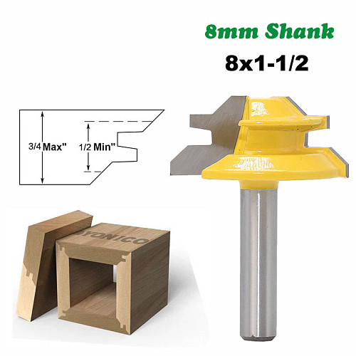 1PC 8mm Shank 45 Degree Small Lock Miter Router Bit Mortise Tenon Knife 3/4  Stock Woodworking Carbide End Mill MC02011