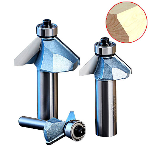 Industrial Grade 45 Degree Chamfer Trimming Milling Cutter Tungsten Carbide Woodworking Router Bits CNC Tool for Wood