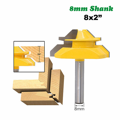 1PC 8mm Shank 45 Degree Mortise Tenon Knife Medium Lock Miter Router Bit 3/4  Stock Woodworking Carbide End Mill MC02005