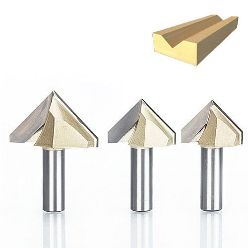 HUHAO 1pcs 1/2  Shank Double Edging Router Bits for Wood 90 Deg V Type Slotting Cutter Tungsten CNC Woodworking Carving Tool