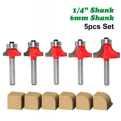 5pcs 6mm 1/4  Shank Corner Round Over Router Bit with Bearing Cleaning Flush Milling Cutter for Wood Woodworking Tool MC01065