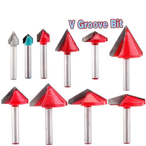 1pc 6mm V Groove Router Bits CNC Engraving Milling Cutter 60-150 Degree Woodworking Carving Knife Tungsten Carbide Cutting Tool