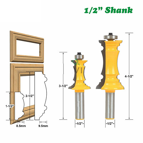 2 PCS 12mm 1/2  Shank Mitered Door Drawer Molding Router Bits Handrail Line Knife Tenon Cutter For Woodworking Tools 03041