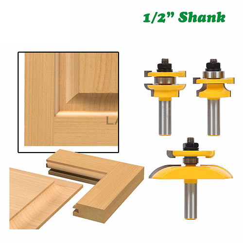3pcs 12mm 1/2  Shank Round Over Rail & Stile Cove Panel Raiser Router Bit Set Tenon Cutter Milling Cutter for Wood MC03125