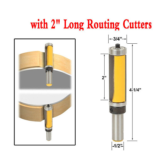 1Pc 1/2  Shank Template/Trim Router Bit, with 2  Long Routing Cutters. Features: top & bottom ball bearings Woodworking Tool