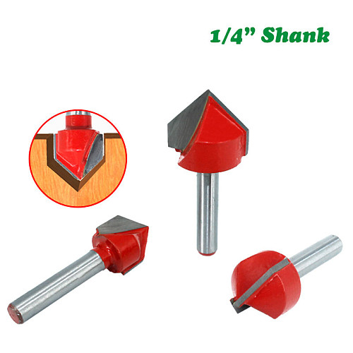 7pcs 6.35mm 1/4 inch Shank 90 Degree V Type Router Bit Edge Forming Bevel Woodworking Milling Cutter for Wood Bits MC01121