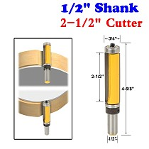 1Pc 1/2  Shank Pattern/Flush Trim Router Bit, 2-1/2  Cutter, Top & Bottom Bearing For Woodworking Cutting Tool