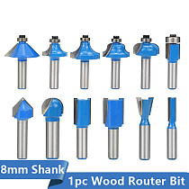 Carbide Wood Router Bit 8mm Shank Flush Trim Pattern Bit Straight Cutter Slot Bit Dovetail Joint Milling Cutter