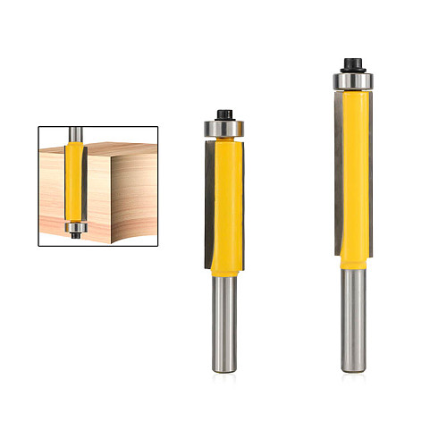 1pc 8mm Shank End Bearing Flush Trim Router Bit For Wood Milling Cutter Carbide Engraving Bit Straight Flute End Mill