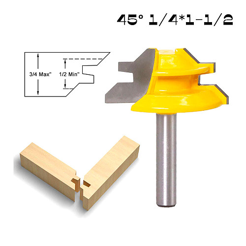 6.35mm Shank 45 Degree - Up to 1-1/2  Stock Lock Miter Router Bit Woodwork Cutter