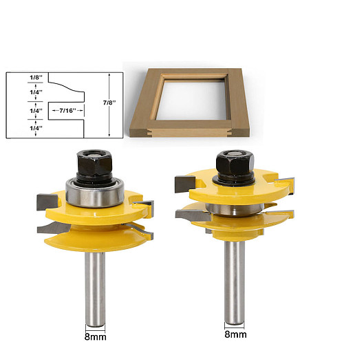 2 Bit Rail and Stile Router Bit Set - 8  Shank door knife Woodworking cutter Tenon Cutter for Woodworking Tools