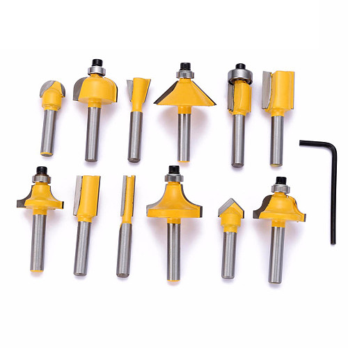 """12pcs/set Milling Cutter Router Bit 1/4"""" shank Cutter Carbide For Wood Mill Trimming Engraving Carving Cutting Tools"""