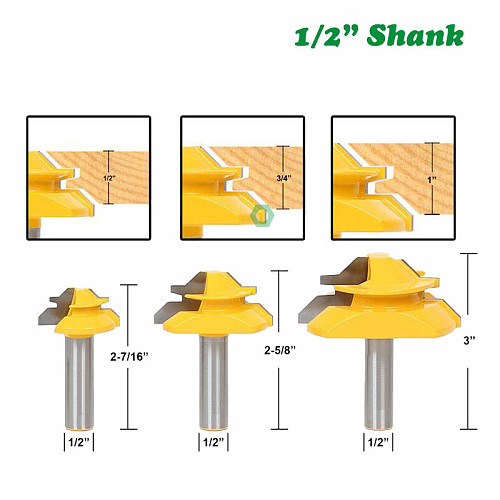 3pcs 12mm 1/2  Shank 45 Degree Lock Miter Bits Glue Joint Set 1/2  3/4  1 Stock Woodworking Tenon Cutters for Wood 03025