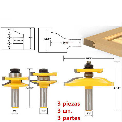 Cabinet Door Rail Stile Milling Cutter Carbid Woodworking Router Bit Wood Tool Floor Puzzle Knives Panel Raiser Glue Joint