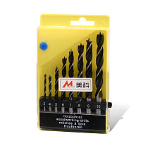 8pcs Woodworking Twist Drill Bit Set 3mm - 10mm Brad Point Round Shank Carbon Steel Drilling Tools for Wood Furnture Cabinet