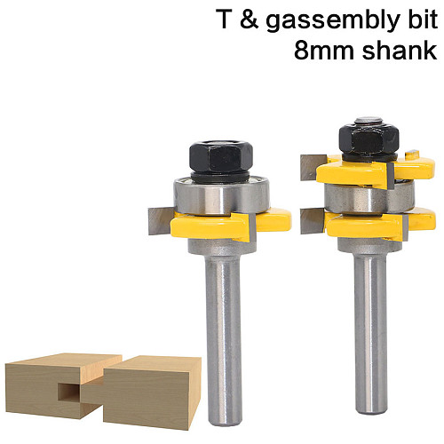 2 pc 8mm Shank high quality Tongue & Groove Joint Assembly Router Bit Set 3/4  Stock Wood Cutting Tool