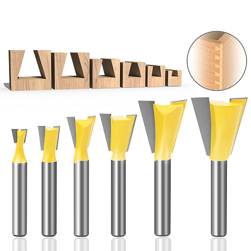 6pcs 6mm Shank 1/4 Dovetail Joint Router Bits Set 14 Degree Woodworking Engraving Bit Milling Cutter for Wood