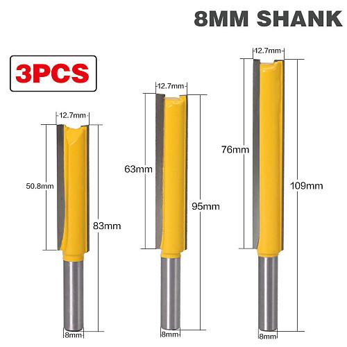3pc Straight/Dado Router Bit 3/8  Dia. X 2 X 2-1/2 X 3  Length - 8mm Shank Woodworking cutter Wood Cutting Tool