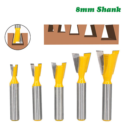 5pcs 8mm Shank Dovetail Joint Router Bits Set 14 Degree Woodworking Engraving Bit Milling Cutter for Wood MC02221