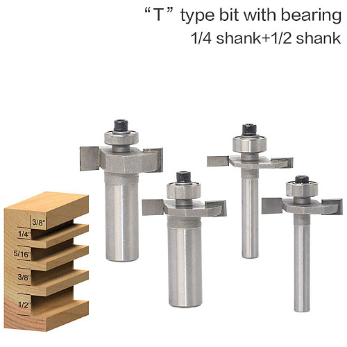 1/4  1/2Shank High Quality  T  Type Biscuit Joint Slot Cutter Jointing/Slotting Router Bit Cutter wood working
