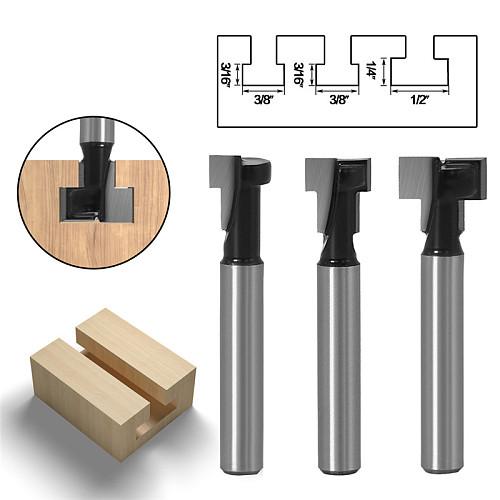 3pcs/set 6mm 1/4  Shank T-Slot Cutter Router Bit Set Wood Cutter Hex Bolt Key Hole Bit T Slotting Milling Cutter for Woodworking