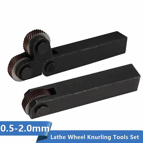 1 Set Knurling Tool 0.6mm-2.0mm Dual/Single Wheels Linear Pitch Knurl Set Lathe Cutter Machine Tools