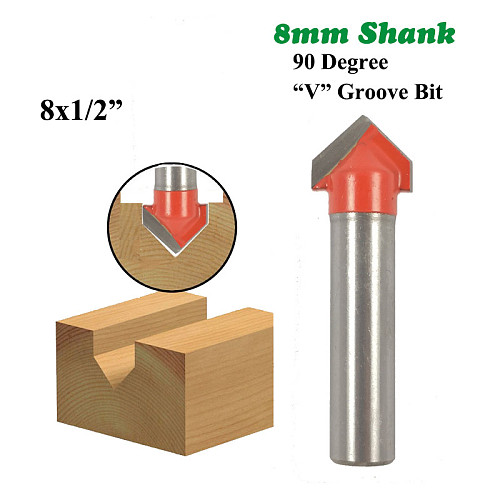 1pc 8mm Shank 90 Degree V Groove Bit 1/2 Inch CNC Engraving Solid Router Bit Carbide Milling Cutter Wood Drilling MC02019