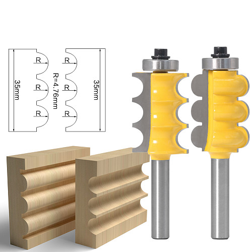 2PC 8mm Shank Triple Bead & Triple Flute Large Molding Router Bits Set Line knife Woodworking cutter