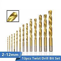 Twist Drill Bit 1.5-12mm HSS Titanium Coated Gun Drill Hole Cutter Wood Metal Drill Bit Set