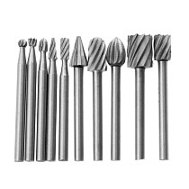 10Pcs 1/8 HSS Routing Router Drill Bits Set for Dremel Carbide Rotary Burrs Tools Wood Stone Metal Root Carving Milling Cutter