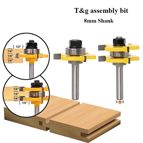 2pcs 8mm Shank Milling Cutter Router Bits Set T-slot Wood Cutters router bits for Woodworking Cutting Milling Tool Wood Cutter
