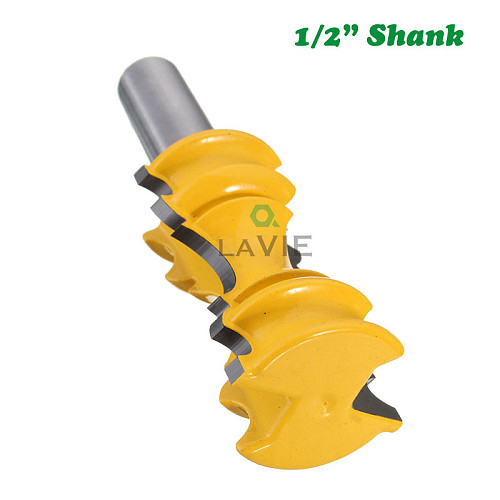 1pc 12mm 1/2  Shank Large Elaborrate Chair Rail Molding Crown Router Bit Line Milling Cutter For Woodworking Tools MC3101