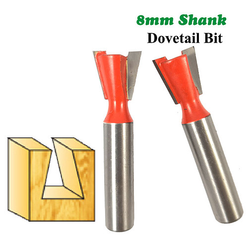 1pc 8mm Shank Dovetail Bit 2 Flute Router bits Tungsten Carbide Engraving Tools Milling Cutter for Wood Cutters MC02025