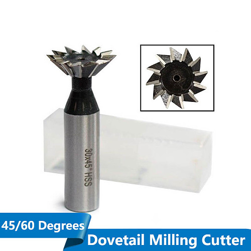 1pc 45/60 Degrees 10/14/18/20/25/30/32/35mm HSS Dovetail Milling Cutters  Straigh Shank CNC Router Bits End Mills
