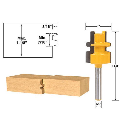 Glue Joint Router Bit - Medium Reversible - 1/4  Shank - Woodworking cutter Tenon Cutter for Woodworking Tools