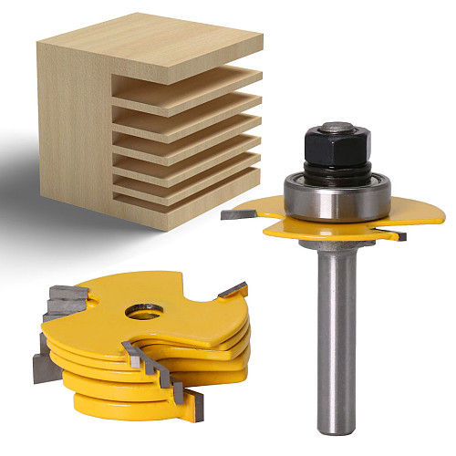 2Pc 6 Piece Slot Cutter 3 Wing Router Bit Set Woodworking Chisel Cutter Tool- 8 & 12  Shank Tenon Cutter for Woodworking Tool
