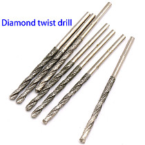10pcs Diamond Coated Twist Drill Bits Set Needle High Speed Steel Polishing Power Tools For Glass Jewelry Agate Fine Drilling